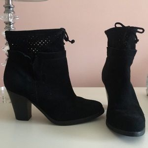 Near NEW Black Suede Booties with Cutouts